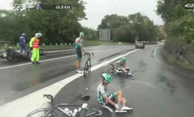 Regen zorgt voor valpartijen in Clasica San Sebastian: motoren schuiven onderuit, ook drie renners van BORA-hansgrohe tegen de grond