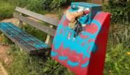 Vandaal bekladt speeltoestellen, zitbanken en vuilnisbakken