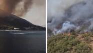 Reddingsteam in helikopter levert indrukwekkend werk om bosbranden in Turkije te bestrijden