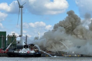 Brandende stapel met houtafval veroorzaakt flinke rookpluim in Antwerpse haven